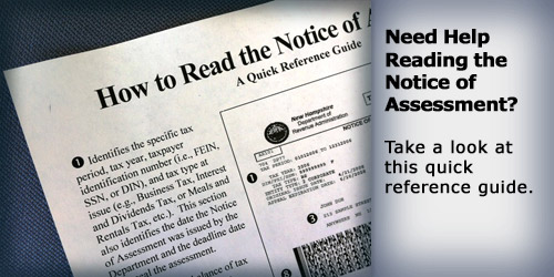 how to read the Notice of Assessment